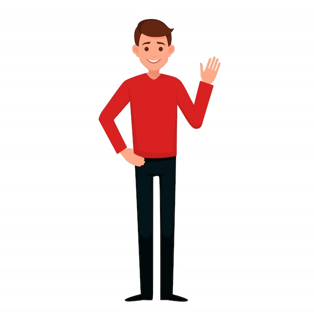 Young man raised his hand with a welcoming gesture Premium Vector