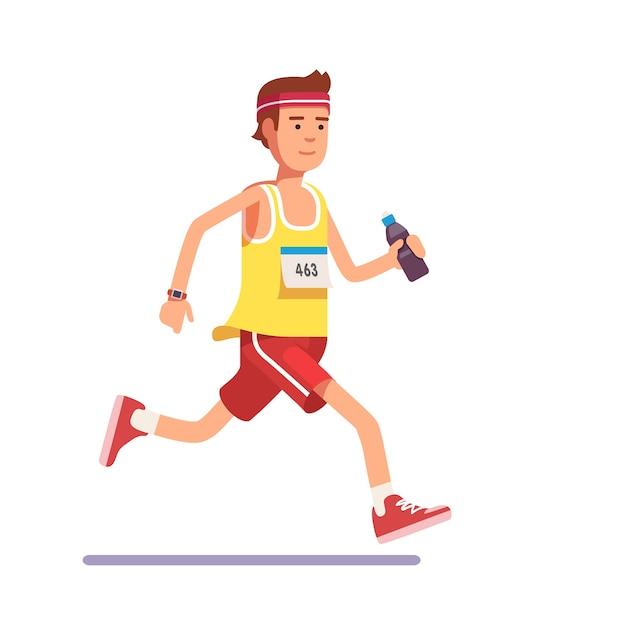 Young man running a marathon Free Vector