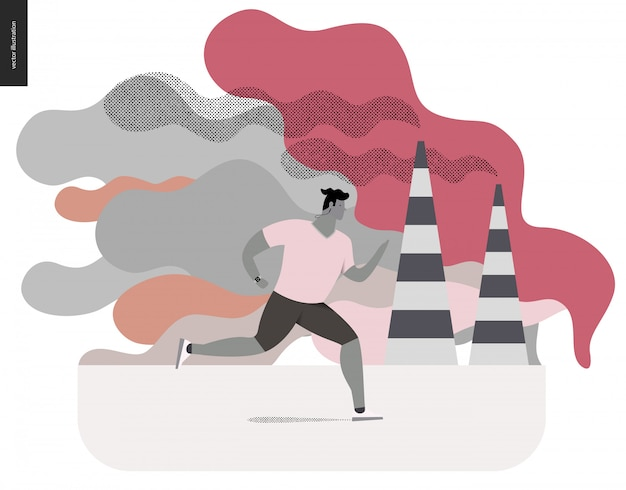 Young man running in smog Premium Vector