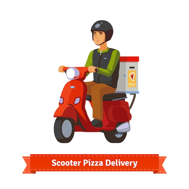 Young man on a scooter delivering pizza Free Vector