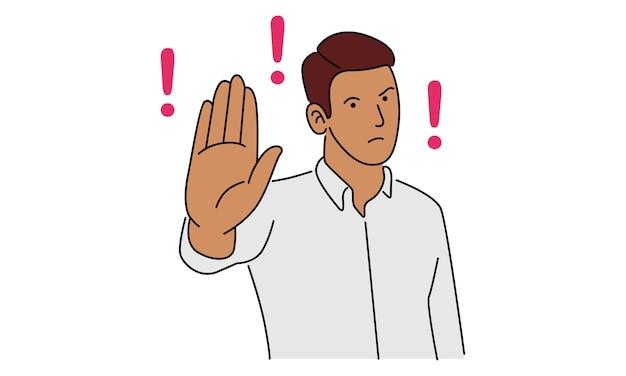 Молодой человек показывает ладонь как знак остановки, пребывания, удержания или отказа Premium векторы