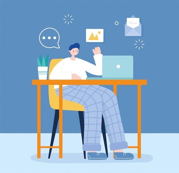 ソーシャルメディアをチャットラップトップのテキストメッセージを使用して椅子に座っている若い男 Premiumベクター