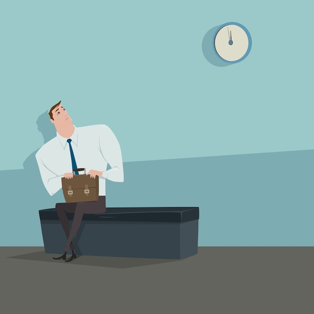 Young man sitting on the chair looking the clock waiting for someone. Premium Vector