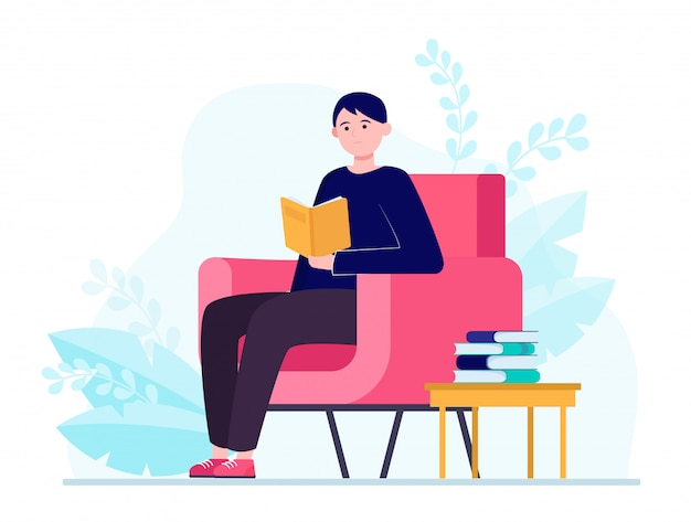Молодой человек сидит в кресле и читает книгу Бесплатные векторы