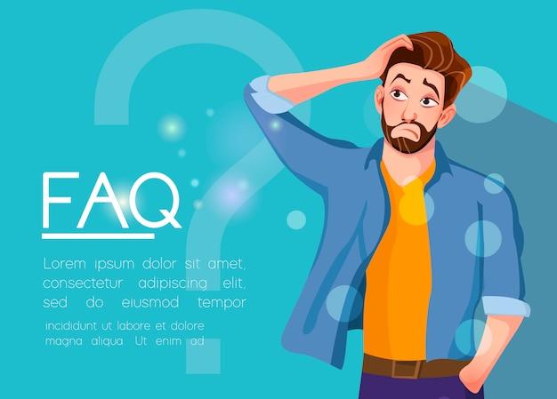 Young man standing near big question symbol. Premium Vector