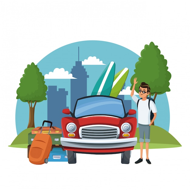 Young man and summer Premium Vector
