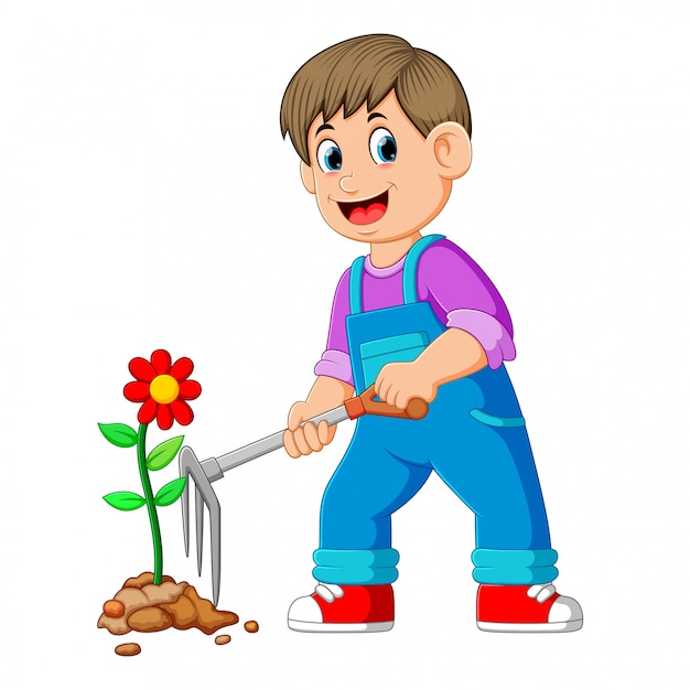 Young man taking care of plants and using the rake Premium Vector