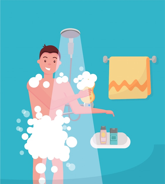 Young man taking shower in bathroom. guy washing himself with washcloth. Premium Vector