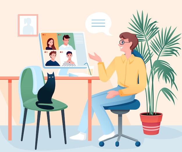 화상 회의에서 친구와 이야기하는 젊은 남자, 홈 룸 인테리어에 앉아 사람들 이야기 프리미엄 벡터