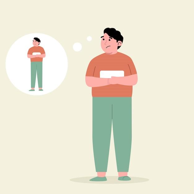 젊은 남자는 체중 감량과 얇아지는 방법을 생각합니다. 프리미엄 벡터