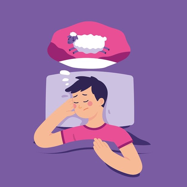 Young man tries to sleep by counting sheep Premium Vector