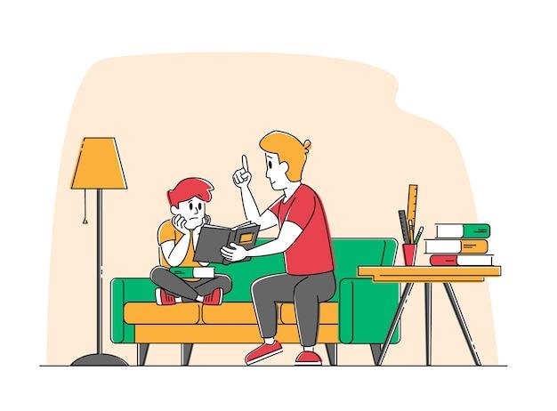 Молодой человек наставник или отец и маленький школьник Premium векторы