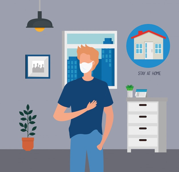 Young man using face mask for covid19 pandemic Free Vector