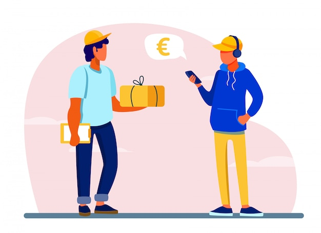 Young man using smartphone app for paying for delivery order Free Vector