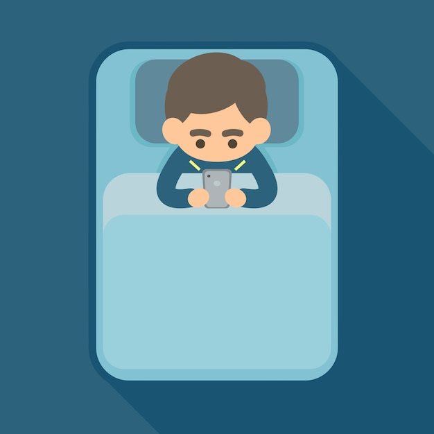 Young man using text on smartphone in bed Premium Vector