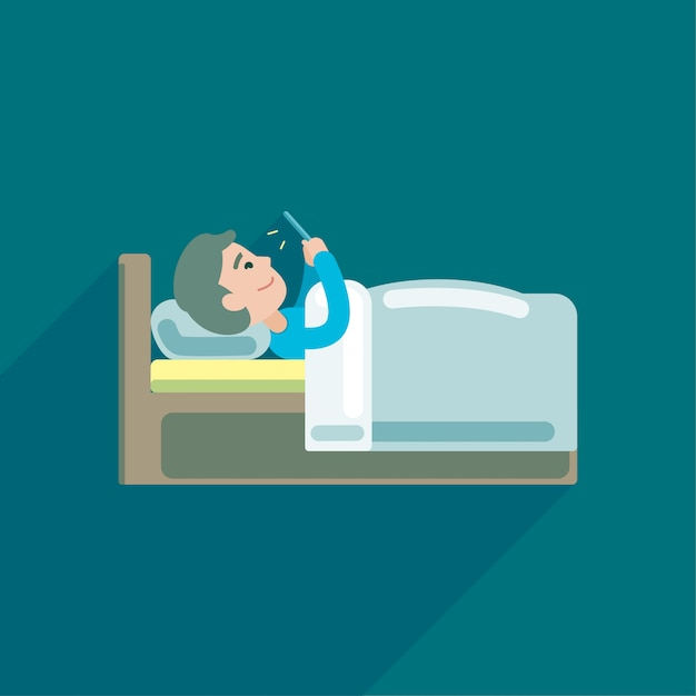 Young man using texting on smartphone in bed Premium Vector
