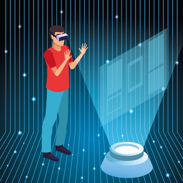 Young man using virtual reality technology Free Vector