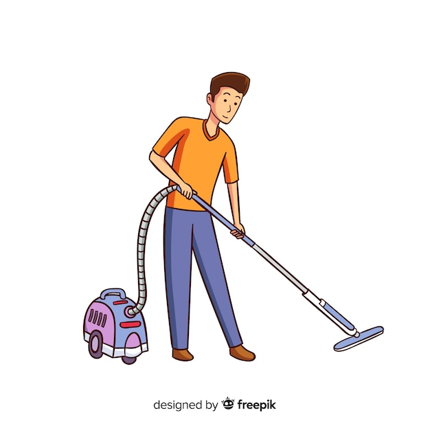 Young man vacuuming illustrated Free Vector