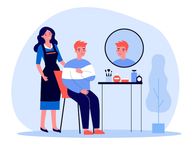 Young man visiting hairdresser Premium Vector