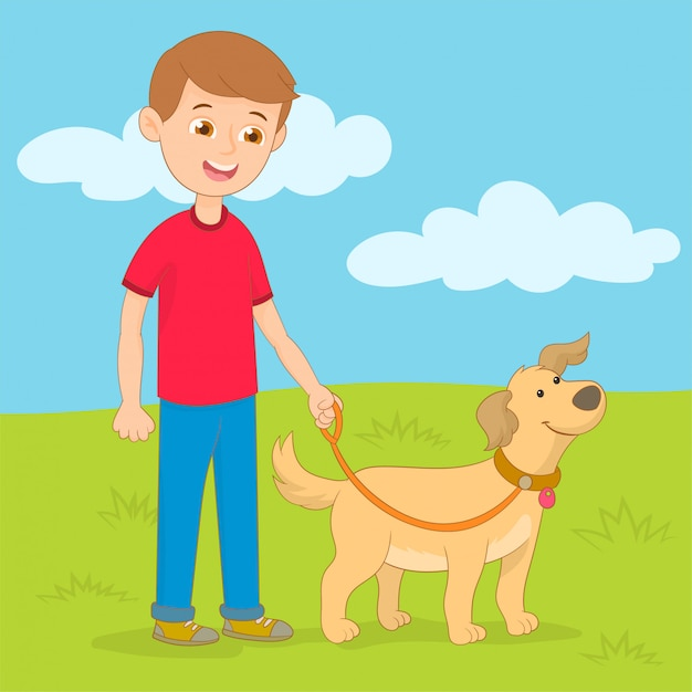 Young man walking dog Premium Vector