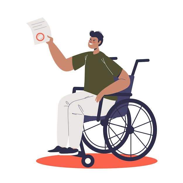 Young man on wheelchair holding document for disability allowance. cartoon disabled male character on wheel chair with money compensation and support. Premium Vector