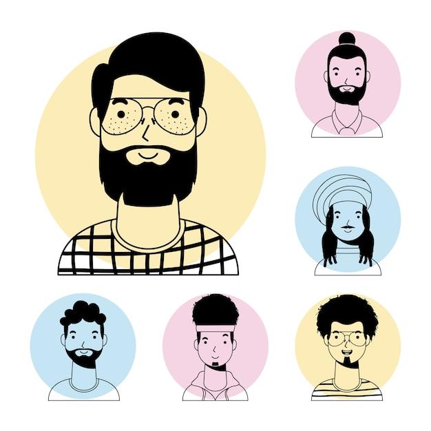 ひげと異人種間の男性アバター文字ベクトル線スタイルデザインを持つ若い男 Premiumベクター