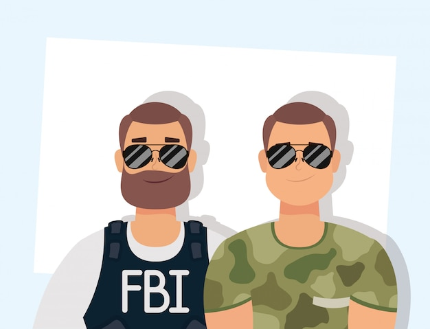 Young man with beard fbi agent and military Premium Vector