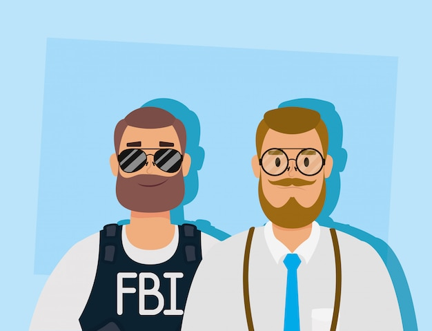 Young man with beard and fbi agent Premium Vector