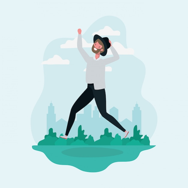 Young man with beard and hat jumping in the park character Free Vector