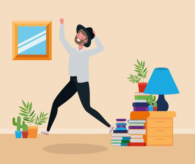 Young man with beard jumping in the livingroom Free Vector