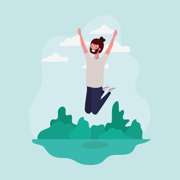 Young man with beard jumping in the park character Free Vector
