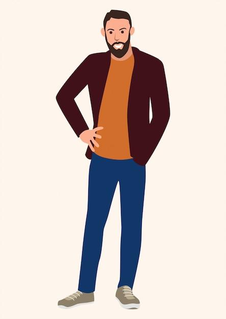 Young man with beard Premium Vector