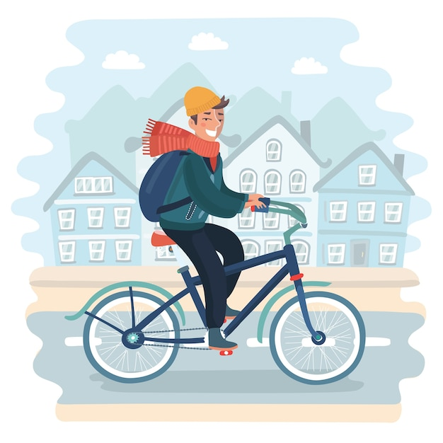 Young man with bicycle adjusting earphones looking confident forward is standing in city square Premium Vector