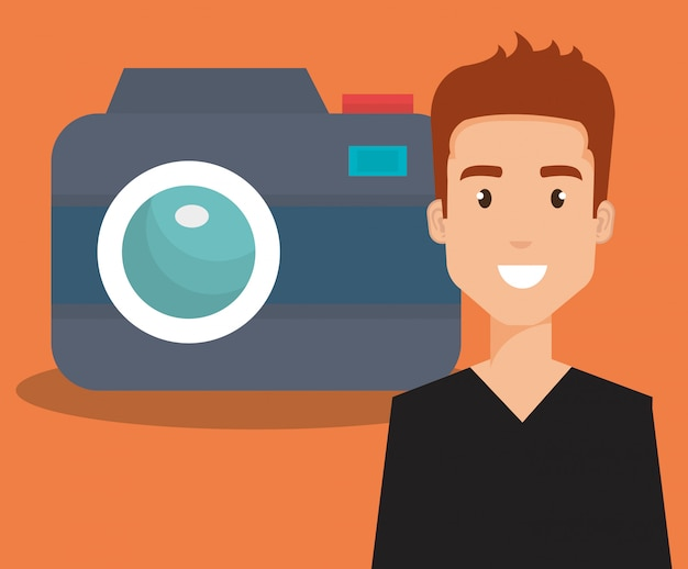 Young man with camera avatar character Premium Vector