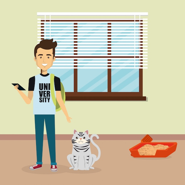 Young man with cute mascot in the house Free Vector