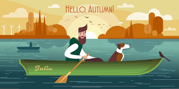 Young man with a dog in a boat.  of autumn fishing Premium Vector