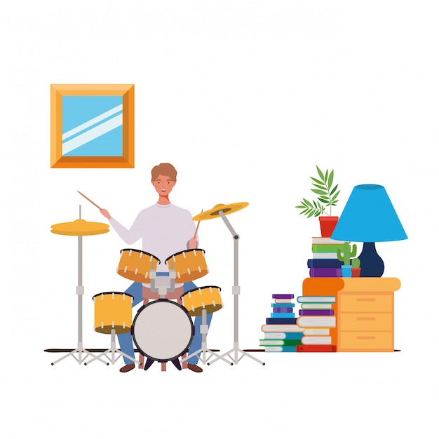Young man with drum kit in living room Premium Vector