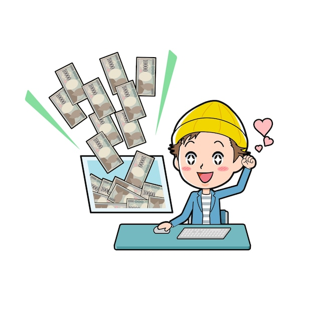 A young man with a gesture of make money with pc. Premium Vector