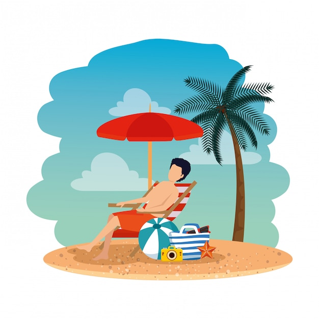 Young man with handbag seated in chair on the beach Premium Vector