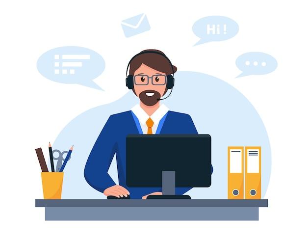 Молодой человек с микрофоном наушников и компьютером поддержка клиентов или концепция call-центра Premium векторы