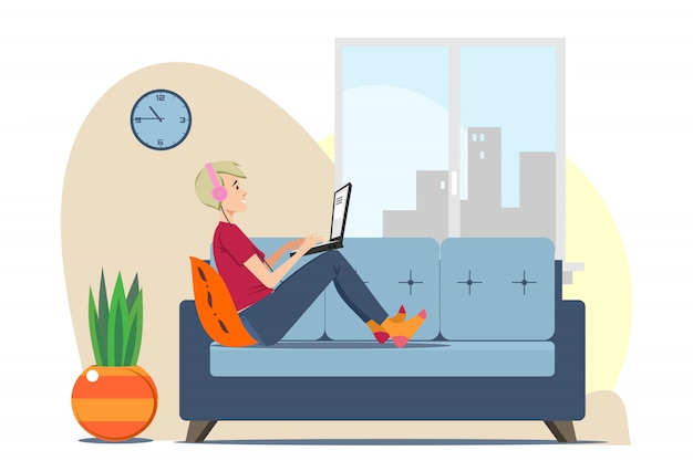Young man with laptop relaxing on sofa at home Free Vector