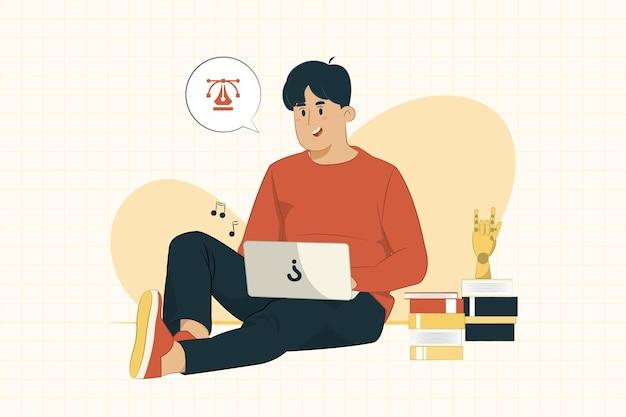 Молодой человек с ноутбуком, сидя на полу, работая из дома концепции Premium векторы