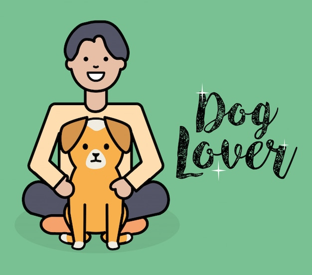 Young man with little dog adorable mascot Free Vector