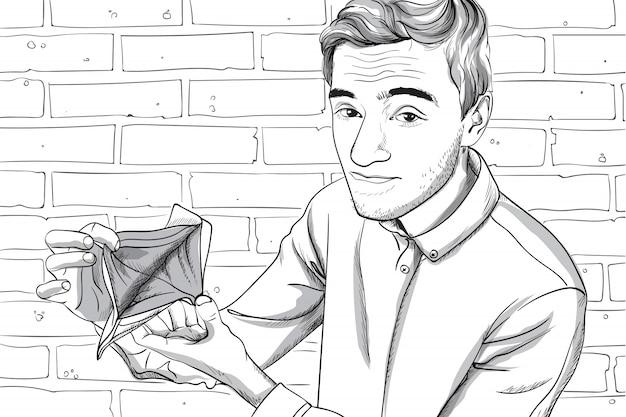 彼の空の財布を示す深刻な顔を持つ若者。レンガの壁の背景。線画 Premiumベクター