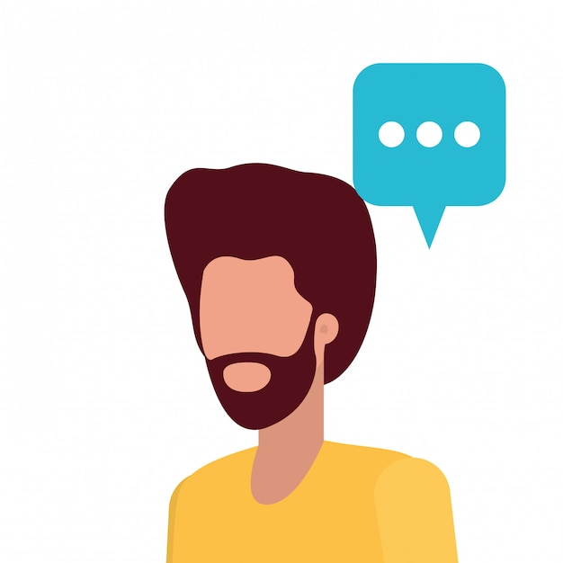 Young man with speech bubble avatar character Premium Vector