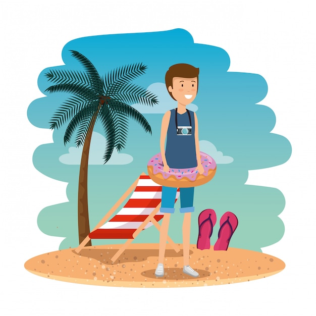 Young man with swimsuit and float donut on the beach Premium Vector