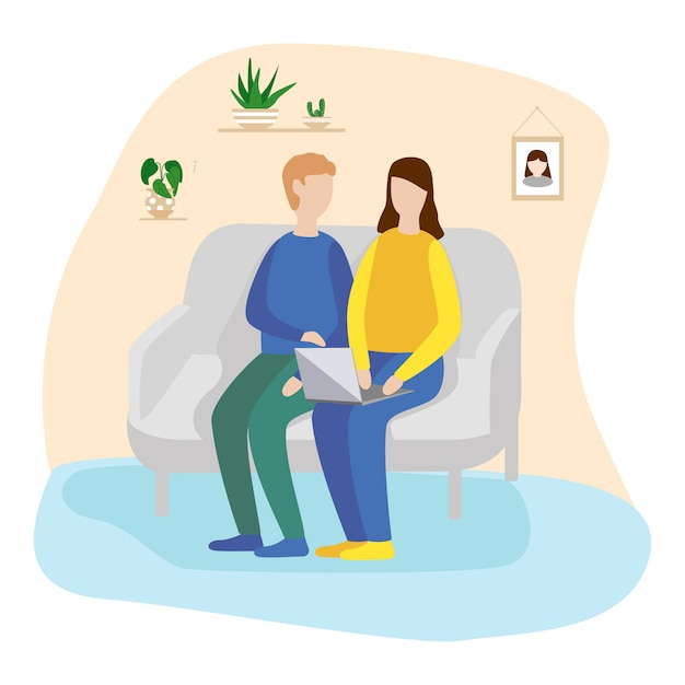Young man and woman are sitting on the sofa at home Premium Vector