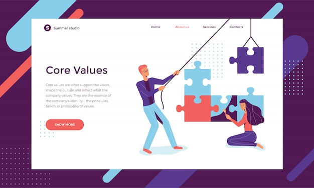 Young man and woman are working in a team, folding and coloring the puzzles Premium Vector