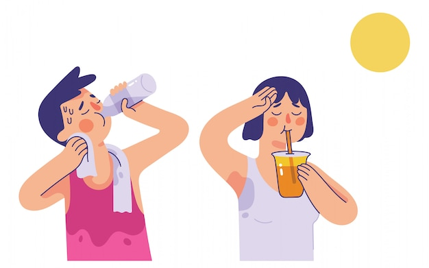 Young man and woman drinking water and orange juice in very hot summer days Premium Vector