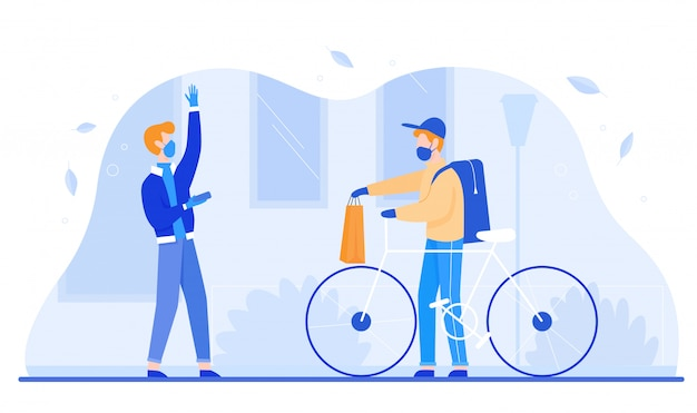Pandemic Young man woman gets food parcel from courier in masks and gloves on street near home. Premium Vector
